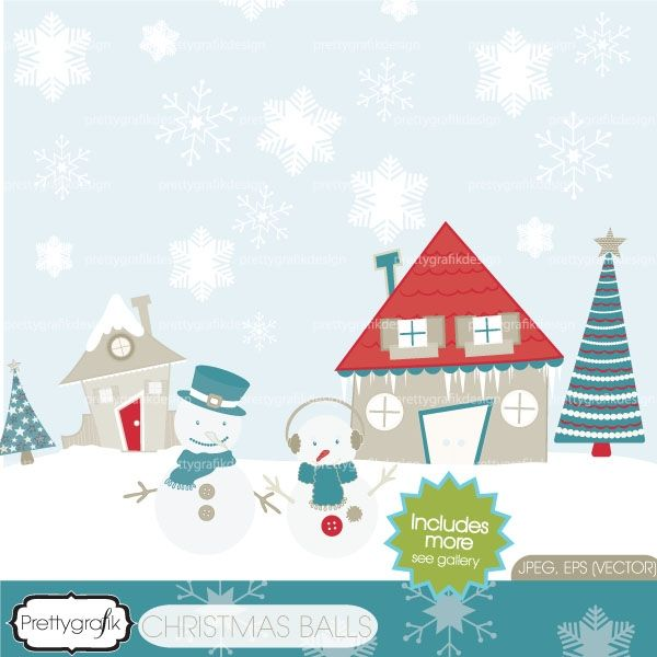 Download #Holiday christmas scene clipart.