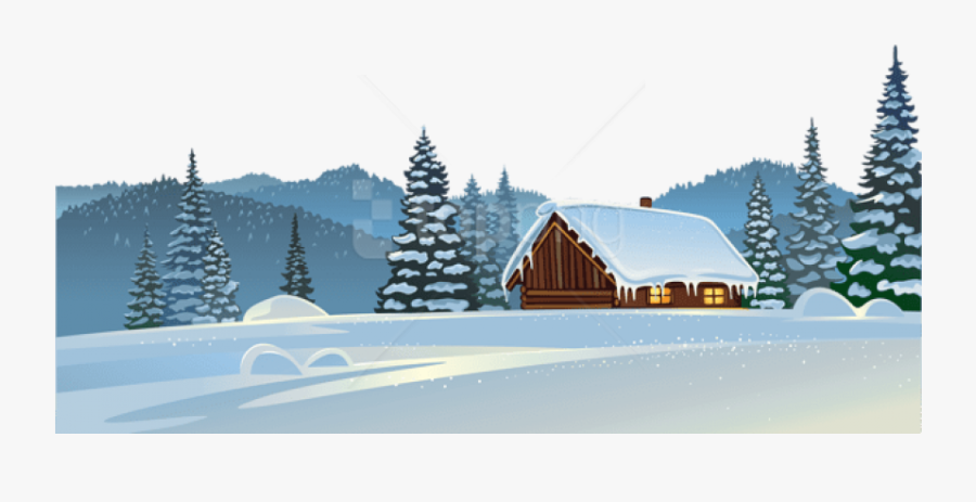 Winter House And Free Transparent Background.