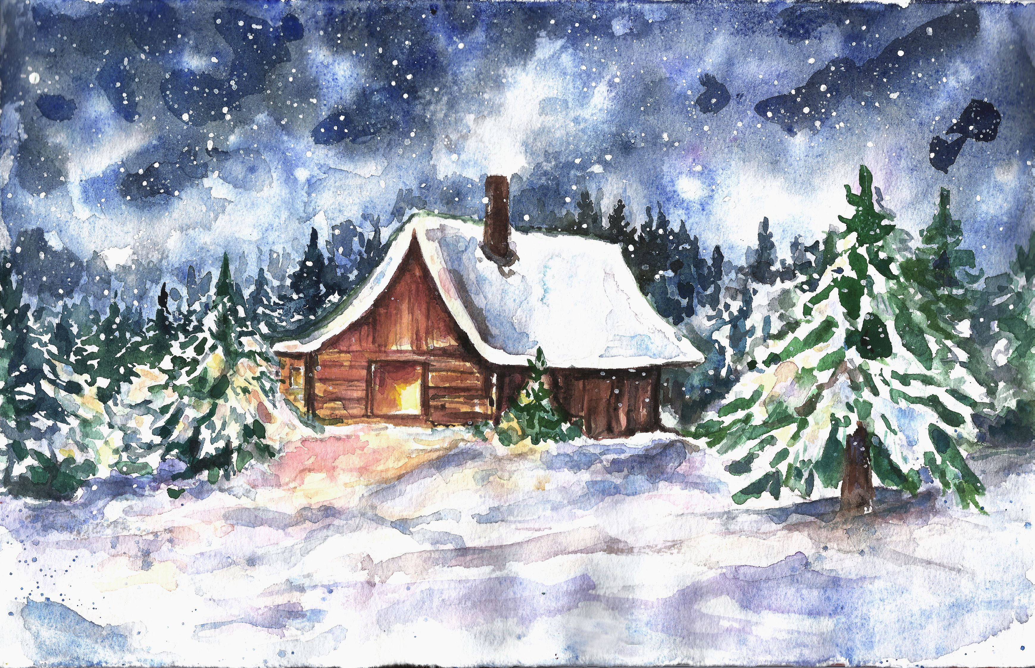 Watercolor Winter Wonderland Snow House Art print Christmas.