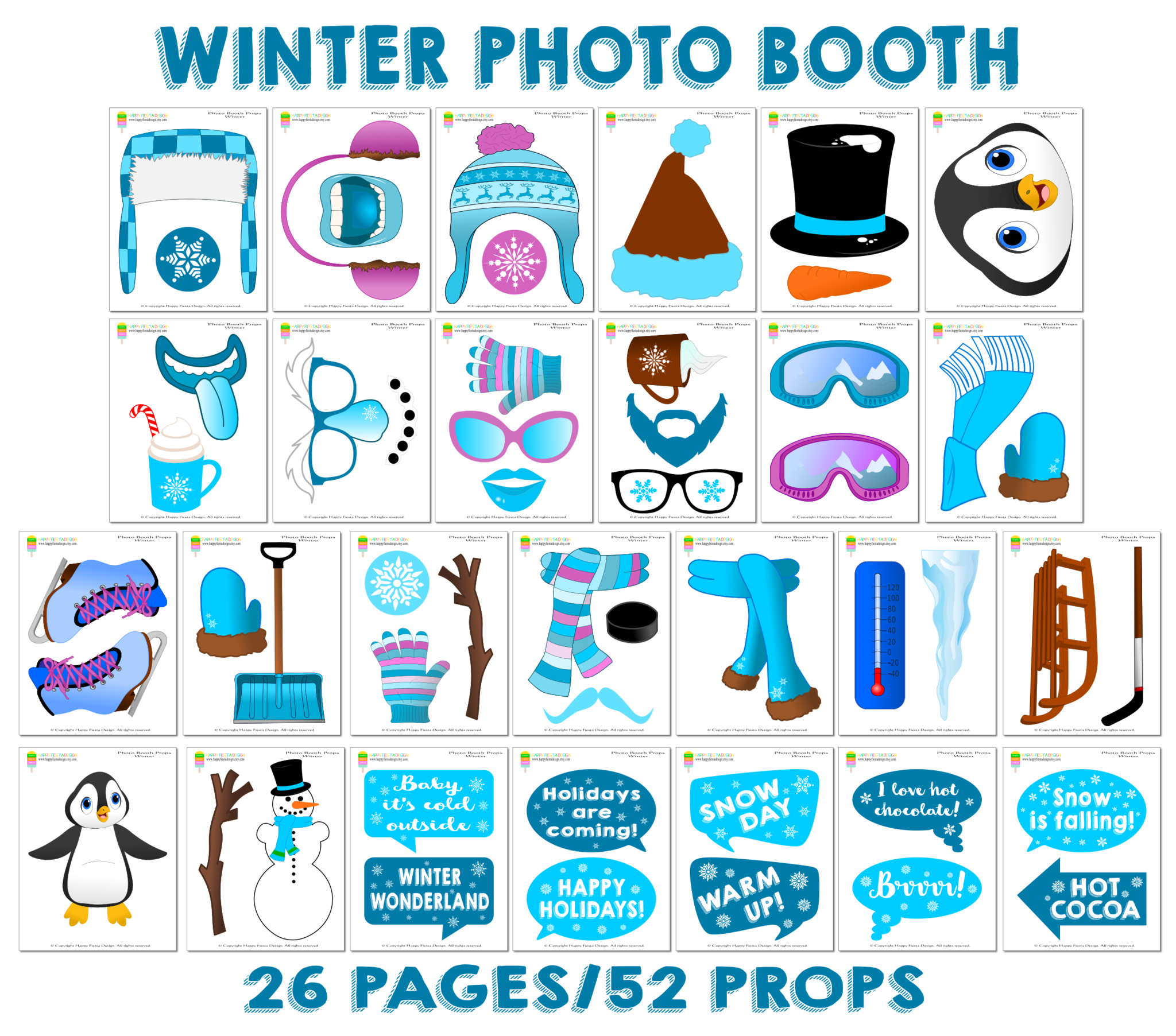 Printable Winter Photo Booth Props/ Baby, It\'s Cold Outside.
