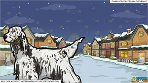 An English Setter Show Dog and Snowy Christmas Night Background.