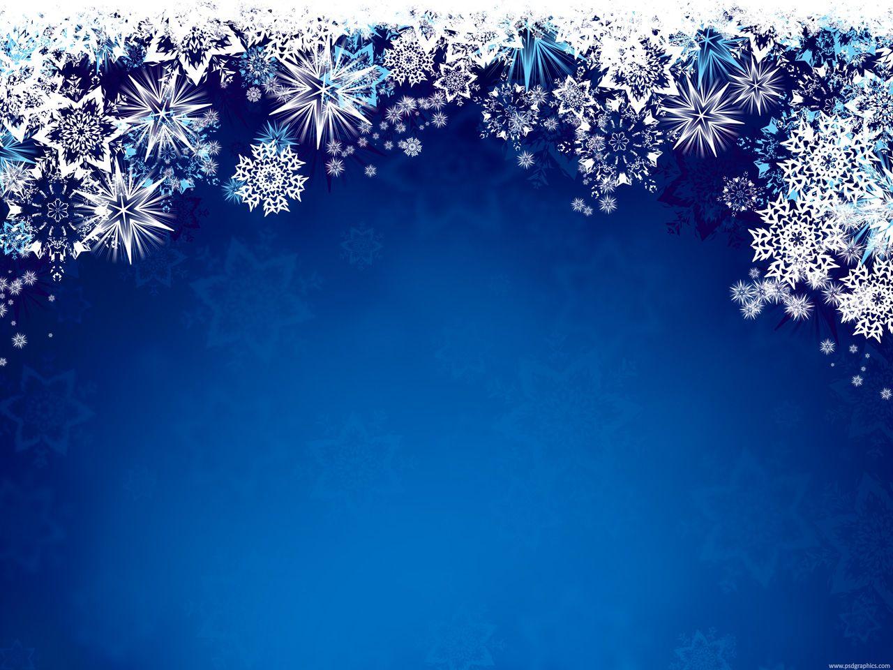 Blue Winter Wonderland Christmas Border Clipart.