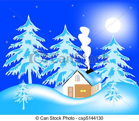 Vector Clipart of Lodge in wood in winter.