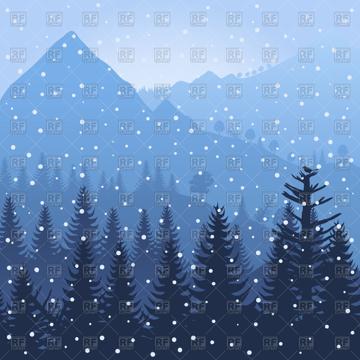 Winter wood in mountains Vector Image #79337.