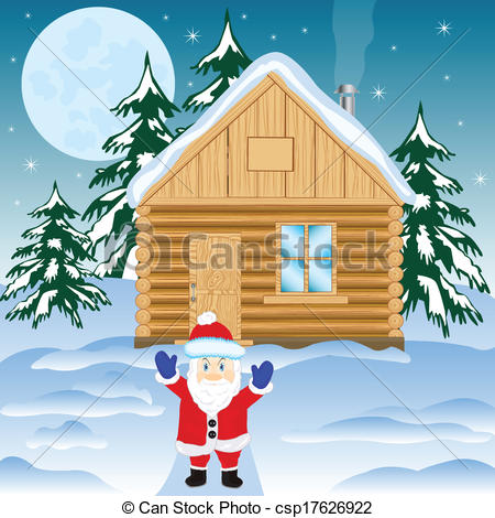Vector Illustration of House in winter wood and festive santa.