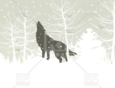 Wolf howls in winter wood Vector Image #82720.
