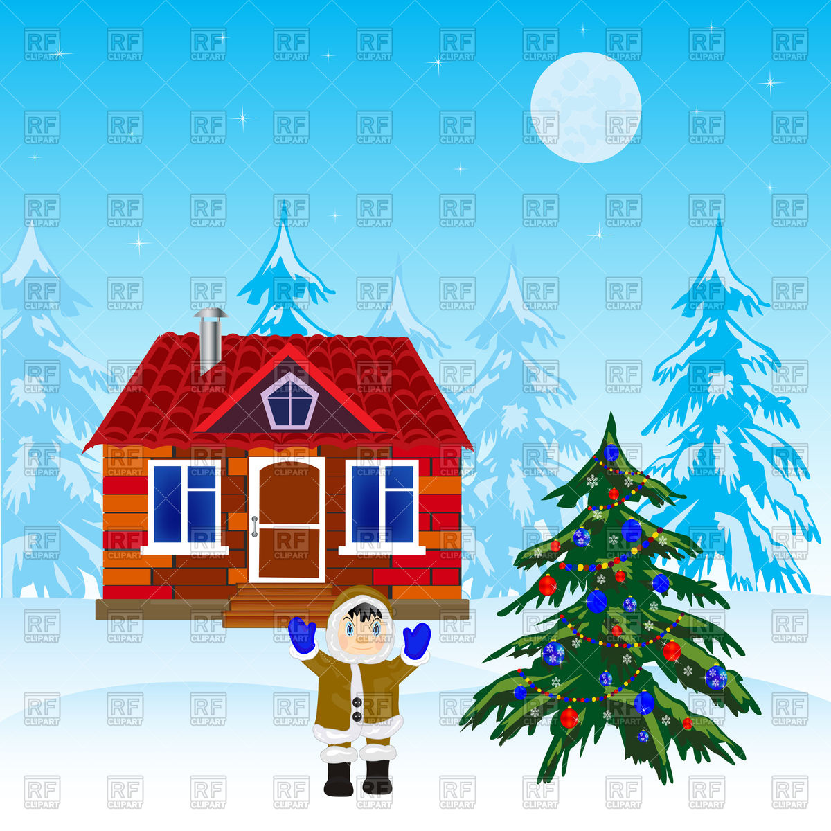 Christmas tree and house in winter wood Vector Image #91432.