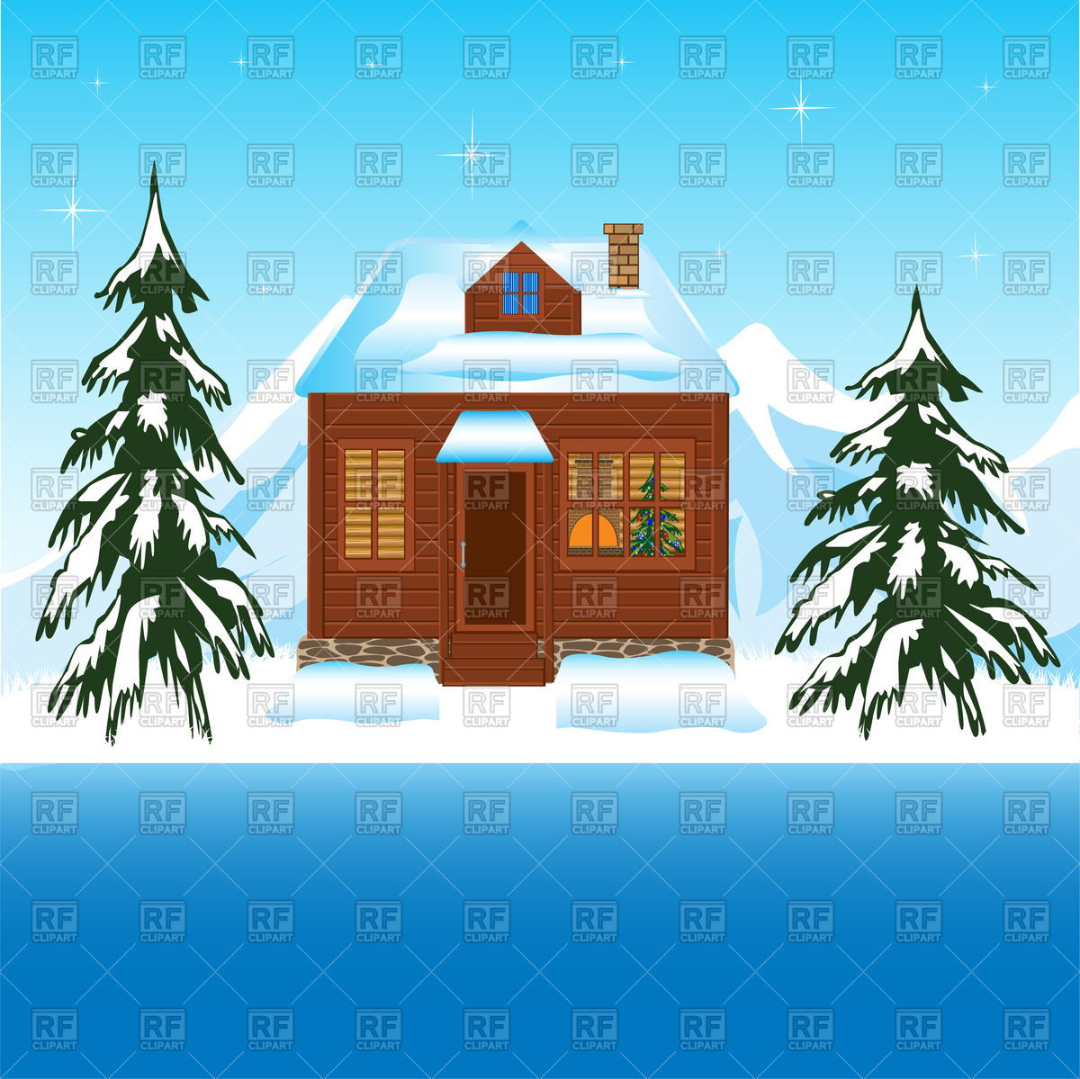 House in winter wood amongst mountains Vector Image #91410.
