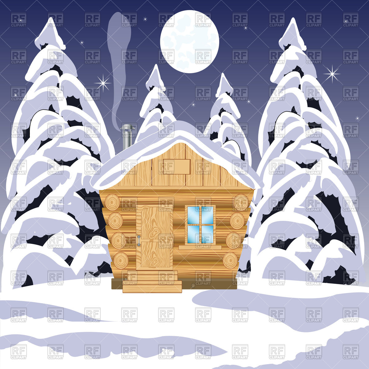 Wooden house in winter wood Vector Image #91415.