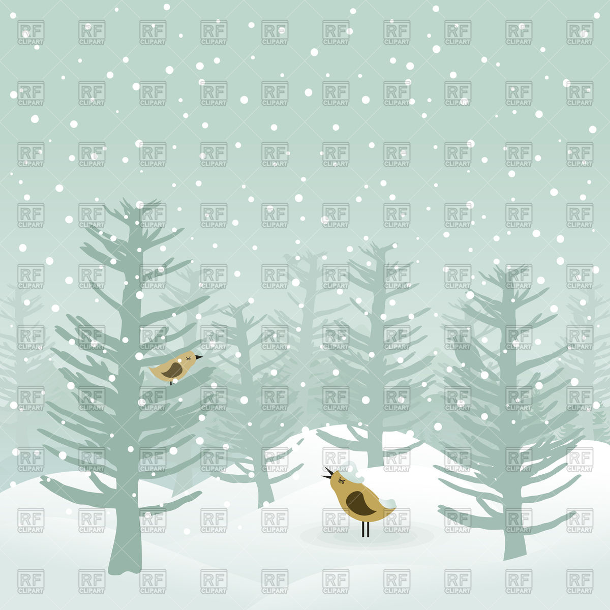 Birds sings in winter wood Vector Image #80657.