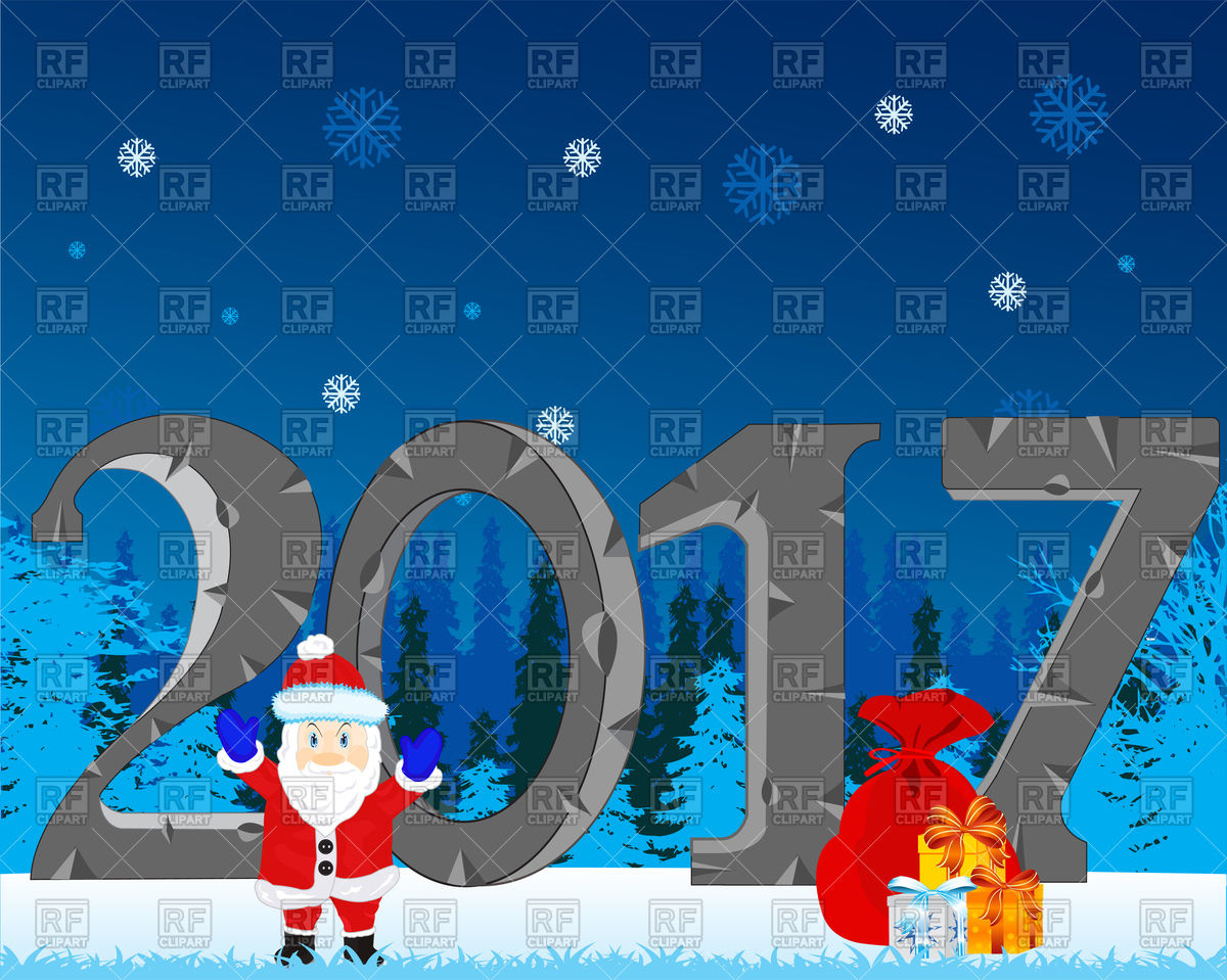 Santa with gift on winter wood background and 2017 Vector Image.
