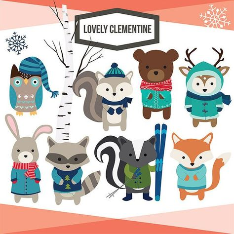 Winter Woodland Animals clip art images, royalty free and.