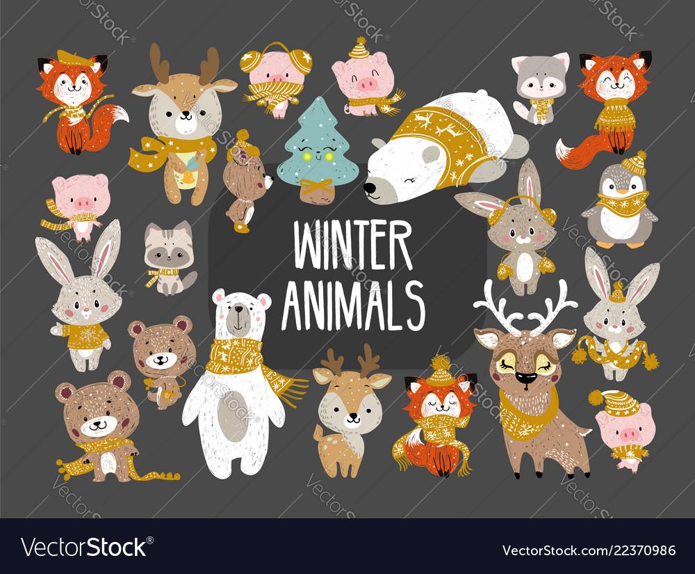 Winter woodland animals.