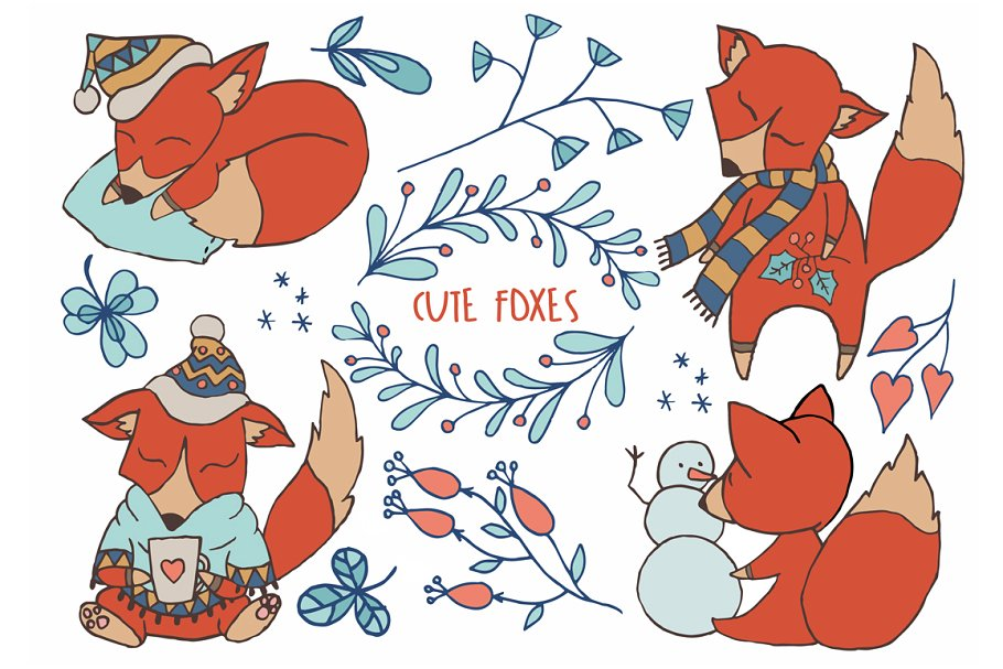 Cute Foxes Winter Woodland Clipart.