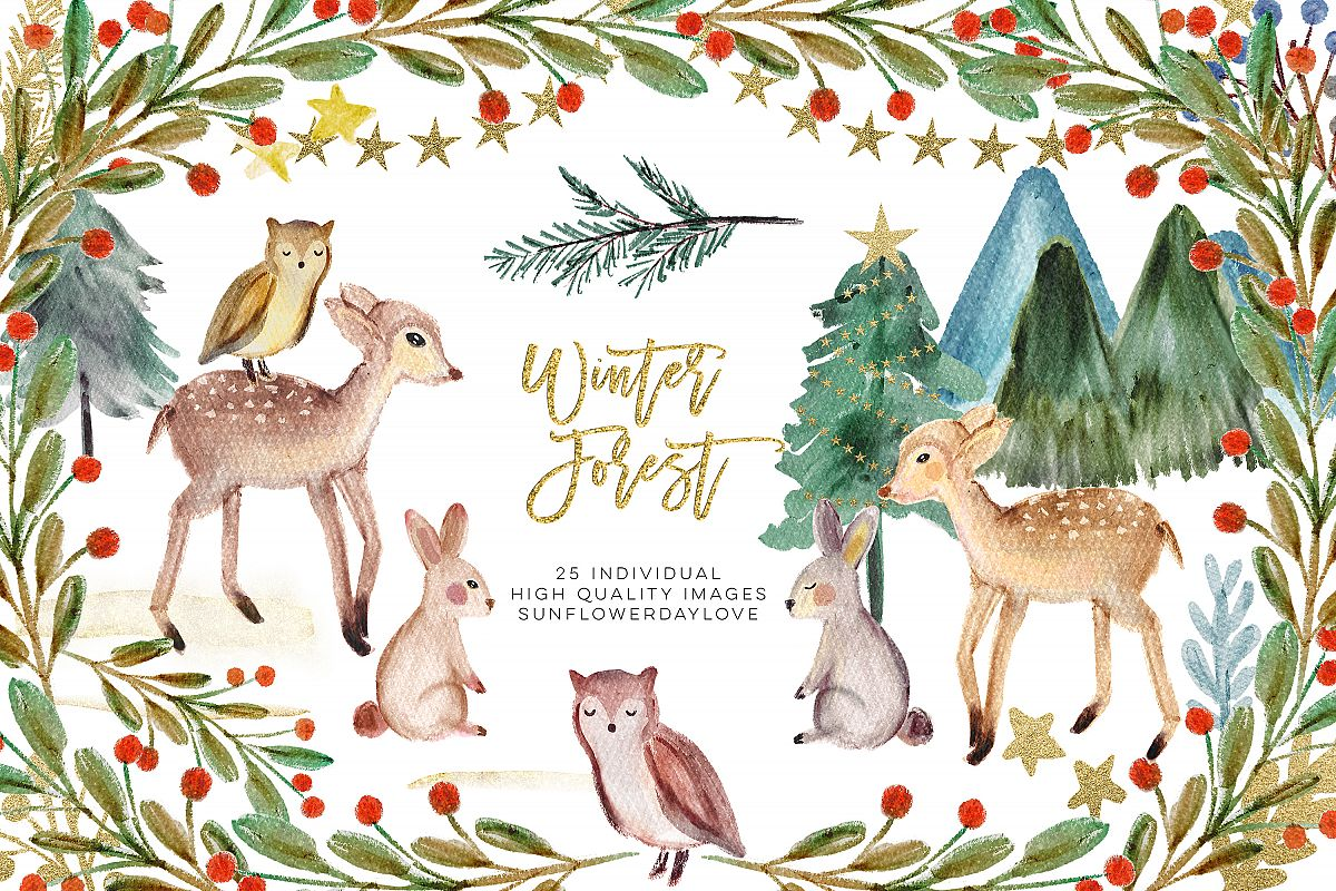 Winter Woodland Animals Clipart, Watercolor Pine Trees.