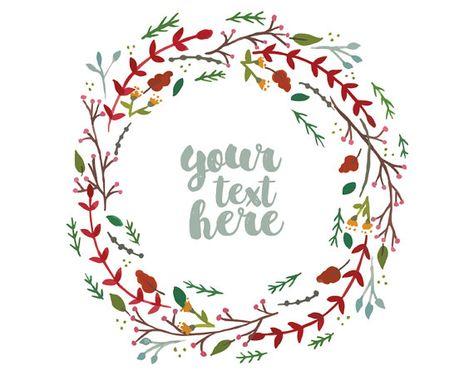 Handpainted Floral Wreath Vector Clipart. Christmas Wreath.
