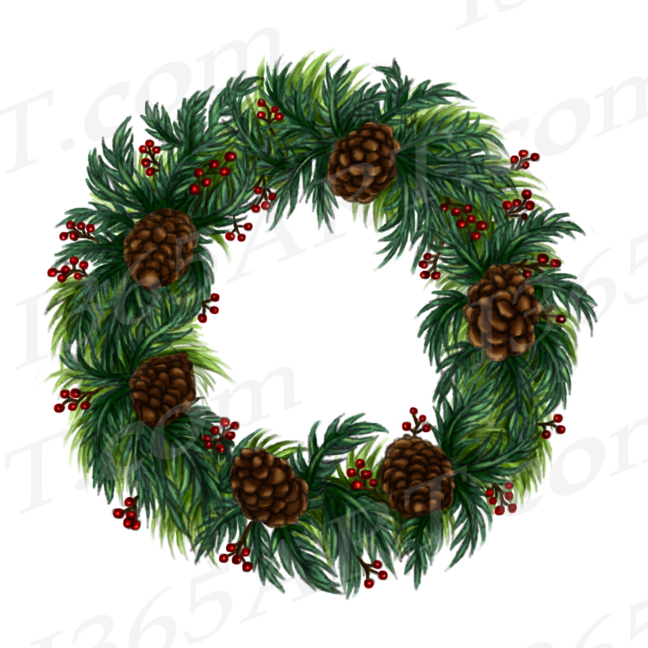 Winter Wreath Clipart, Watercolor Wreath Clip Art PNG.