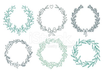 Set of winter wreaths Clipart Image.