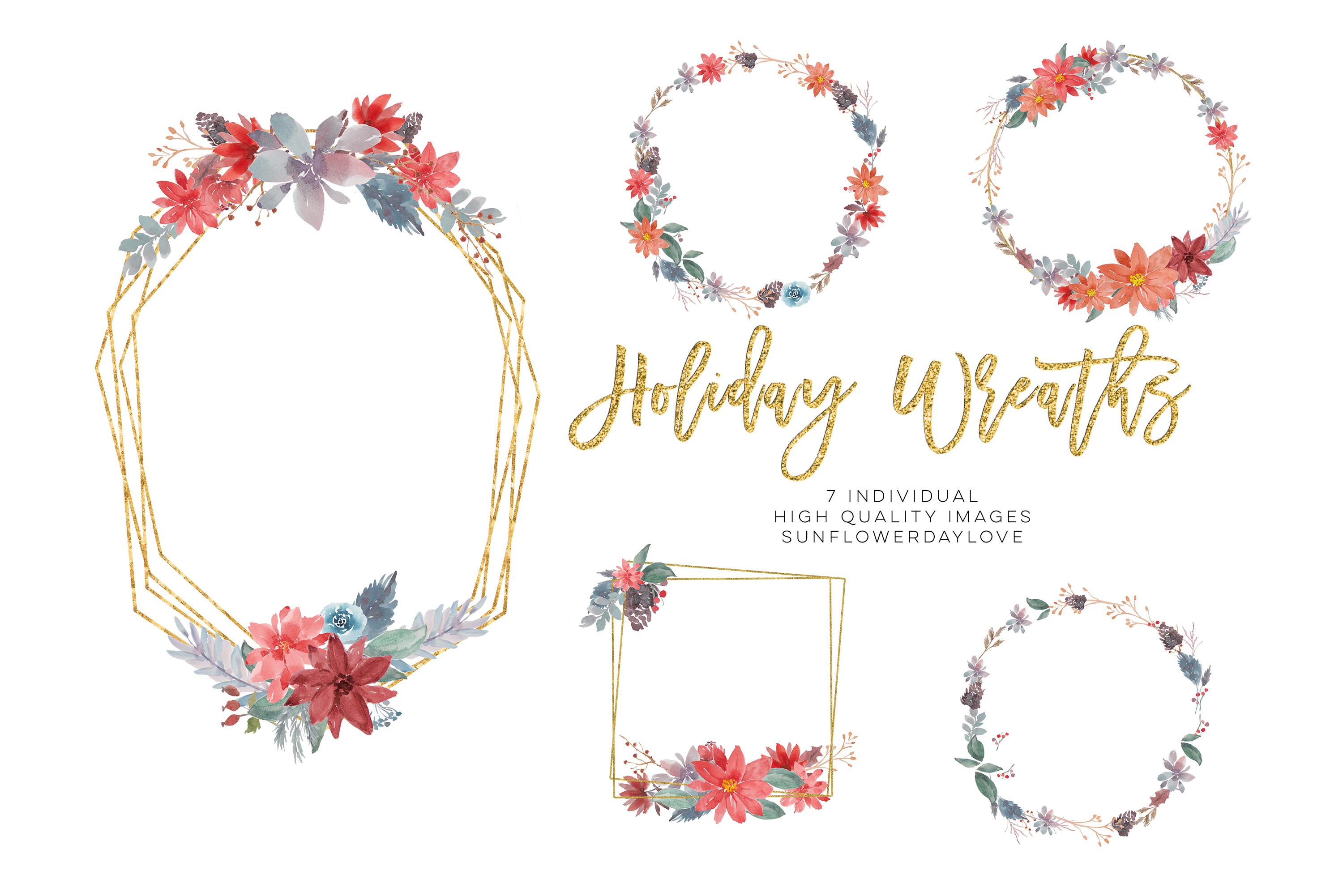 Christmas watercolor wreath, winter clipart wreath png.