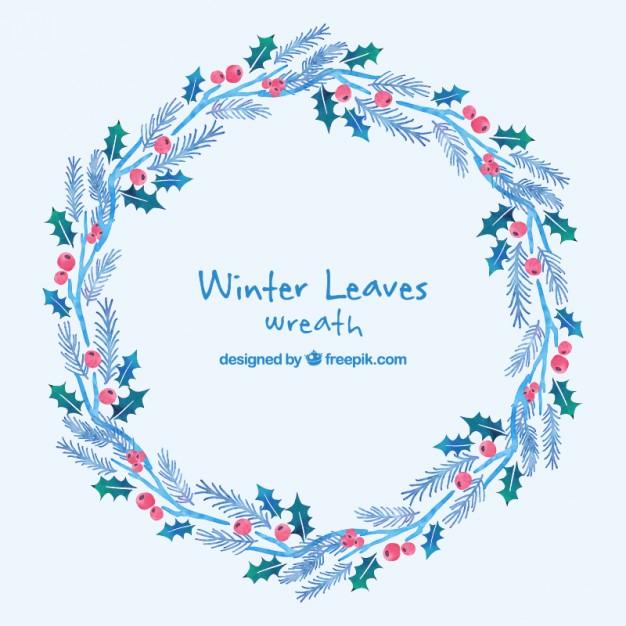 Winter leaves wreath Vector.