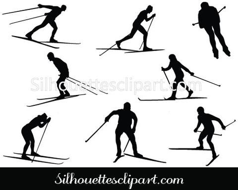 Cross Country Ski Silhouette Cross Country Vectors.