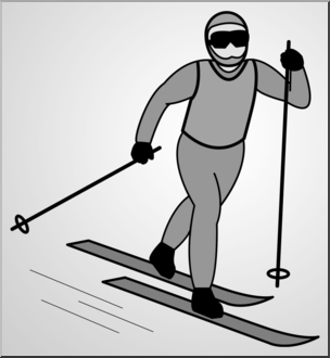 Clip Art: Cross Country Skiing 1 Grayscale 1 I abcteach.com.