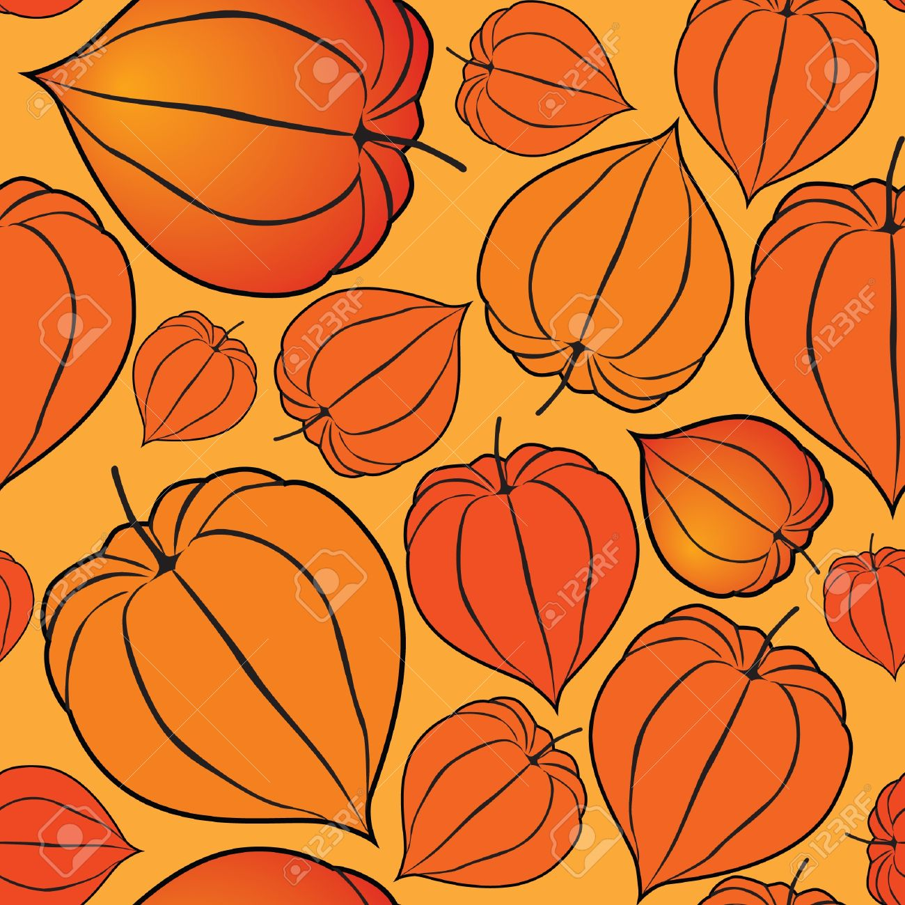 Abstract Autumn Floral Seamless Background With Winter Cherry.