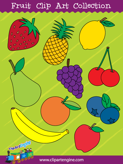 Fruit Clip Art Collection for Personal and Commercial Use.