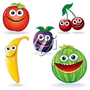 Clip Art Illustration of Smiling Cartoon Fruit.