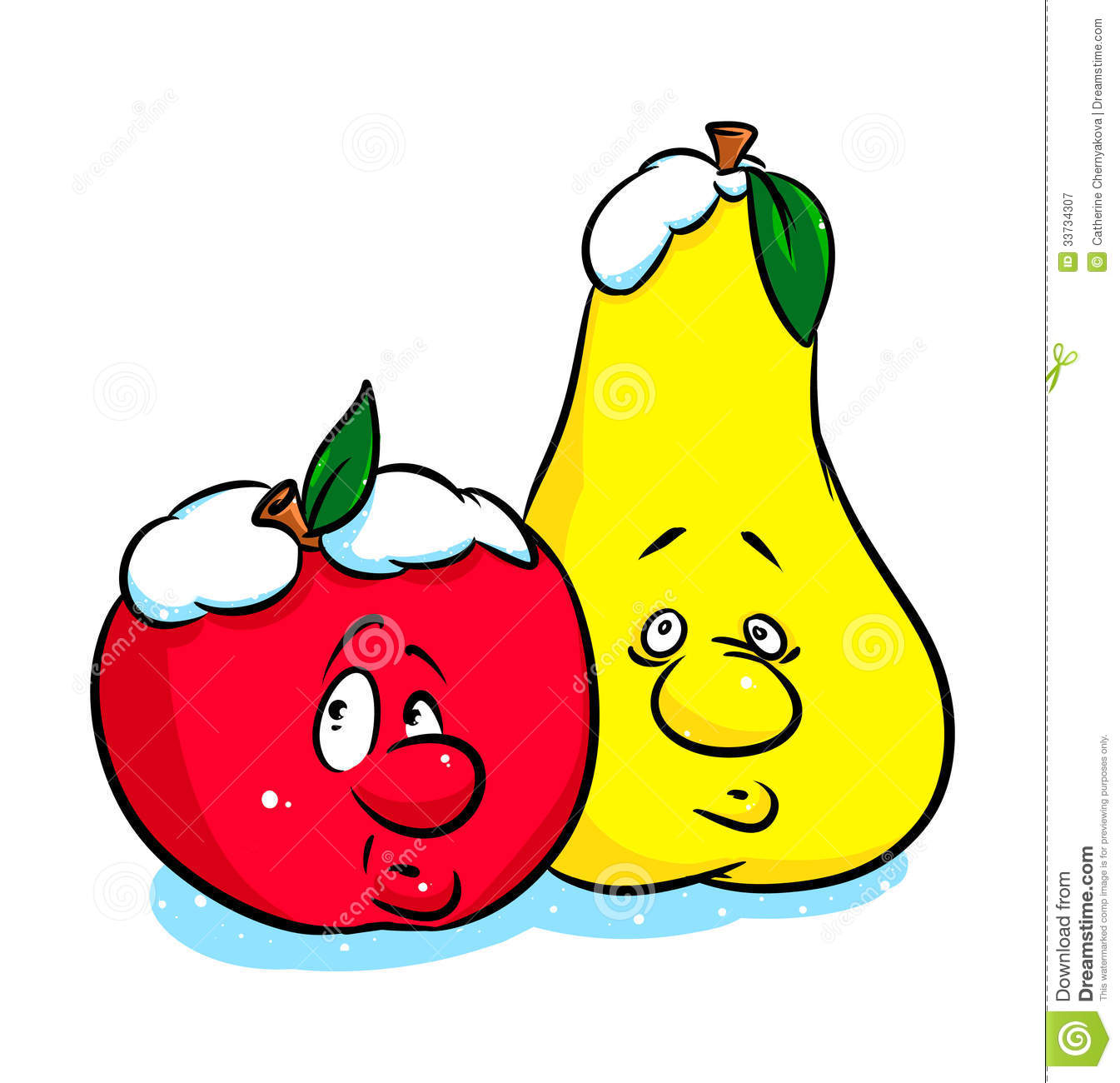Apple and pear clipart.