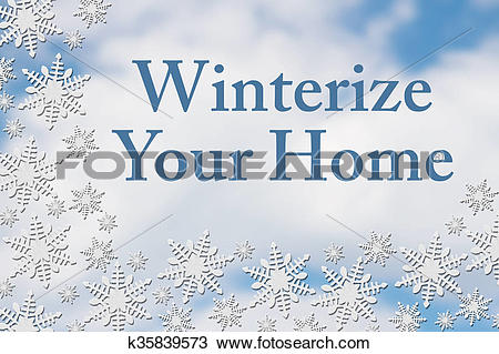 Stock Photo of White Snowflake Background with text Winterize Your.