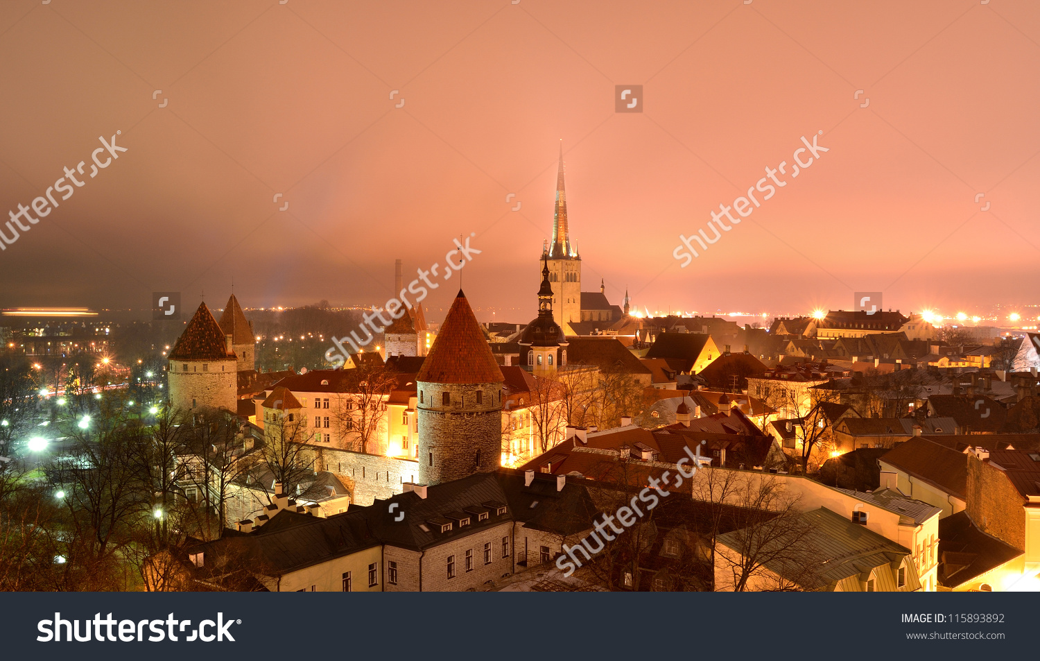Tallinn City. Estonia. Winter Panoram View Stock Photo 115893892.
