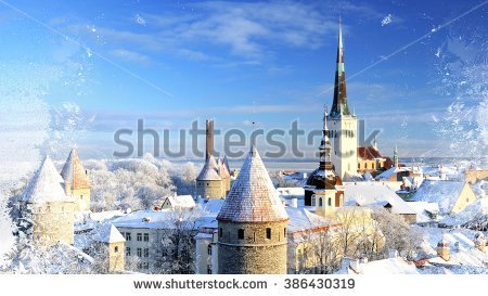 Tallinn City Estonia Snow On Trees Stock Photo 86407258.