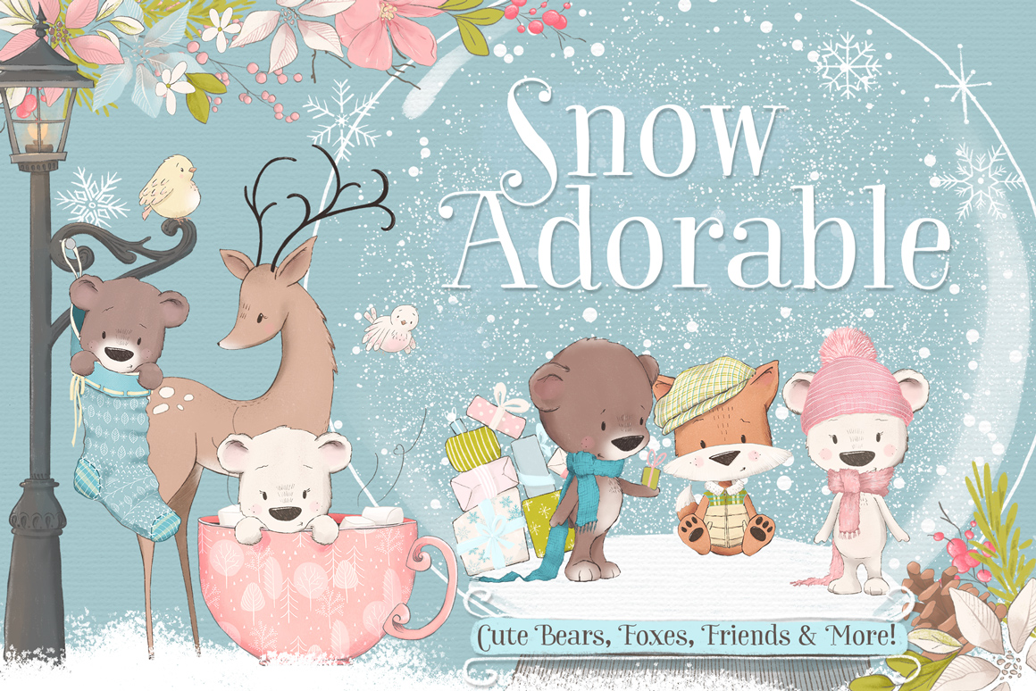 Snow Adorable Winter Illustration Clipart Kit.