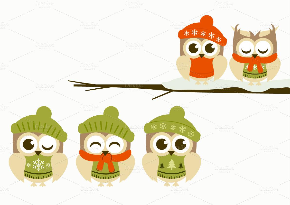 Winter Owl Clipart.