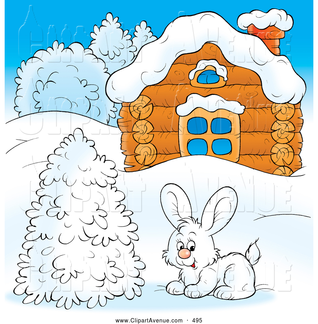 Avenue Clipart of a Cold Log Cabin in Winter by Alex Bannykh.