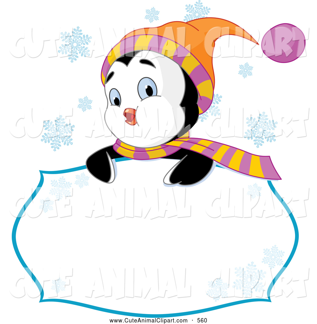 Vector Clip Art of a Friendly Cute Winter Penguin Looking over a.