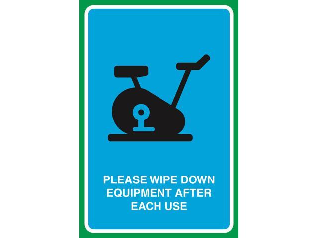 Please Wipe Down Equipment After Each Use Print Gym Picture Business Sign  Aluminum Metal.