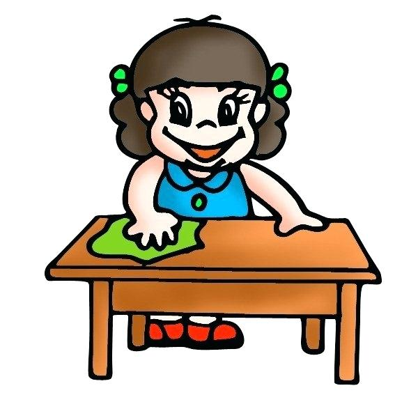 Wiping The Table Clipart.