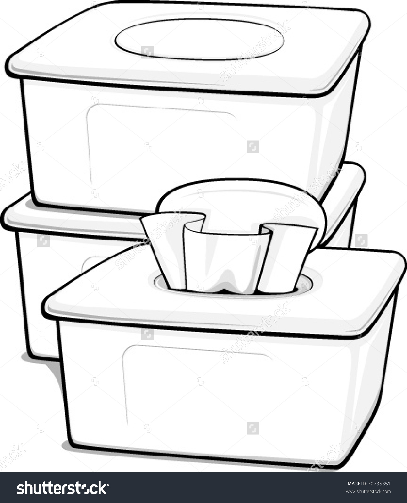 Three Generic Boxes Wipes Stock Vector 70735351.