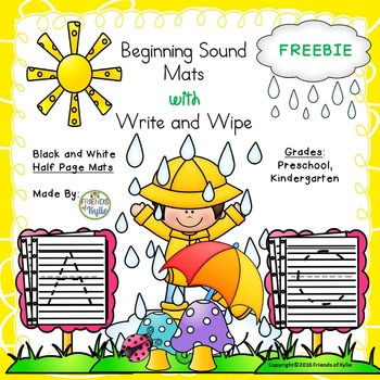 Black and White Beginning Sounds / Write and Wipe Half Sheets FREEBIE.