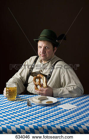 Stock Images of Stereotypical German man in Bavarian costume.