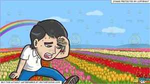 An Exhausted Man Wiping Off His Sweat and A Field Of Tulips Background.