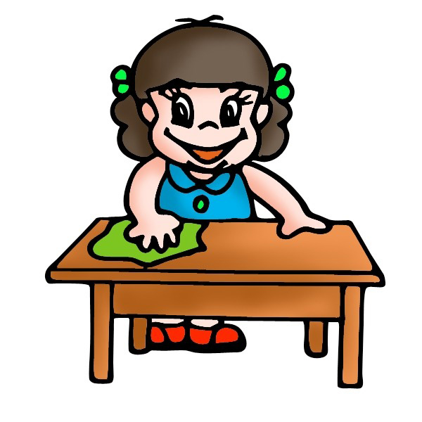 Wiping table and chairs clipart.