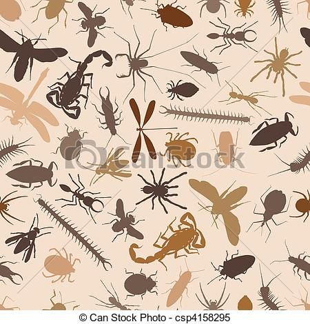 Clipart Vector of Bugs seamless tile.