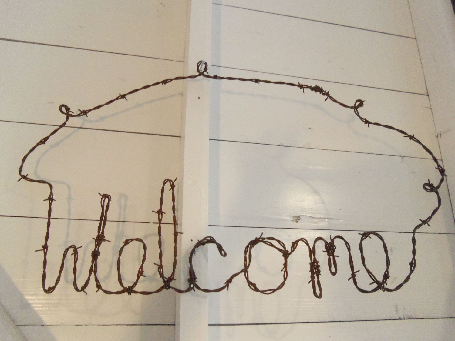 Antique Barbed Wire Welcome Sign Handmade Rustic Country.