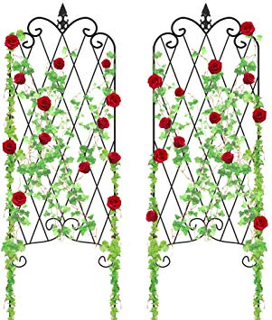 "Amagabeli Garden Trellis for Climbing Plants 46"" x 16"" Rustproof Black Iron  Potted Vines Vegetables Flowers Patio Metal Wire Lattices Grid Panels for."