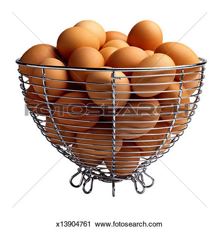 Stock Photography of Brown Eggs in Wire Basket x13904761.