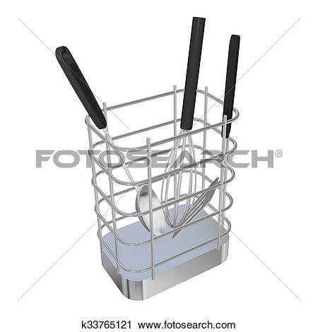 Clipart of Stainless steel wire basket rack or holder with frying.