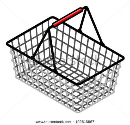 A Wire Shopping Basket With A Red Plastic Handle. Stock Vector.